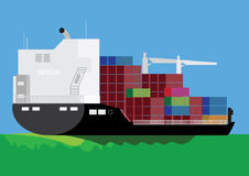 Cargo ship royalty free illustration