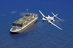 The cargo ship. And plane on a background of the sea Royalty Free Stock Images