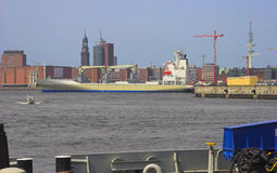 Cargo ship 2. Cargo ship in the harbour of hamburg Royalty Free Stock Photography