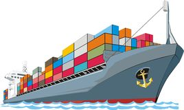 Cargo ship. Civil cargo ship with containers