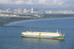 Cargo ship. Departing San Diego port Stock Image