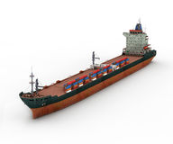 Cargo Ship. 3D render of Cargo Ship on white background Royalty Free Stock Image