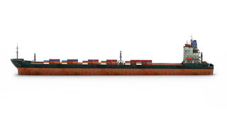 Cargo Ship. 3D render of Cargo Ship on white background Royalty Free Stock Photo