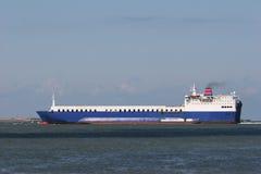 Cargo ship. Big ship entering the harbor stock image