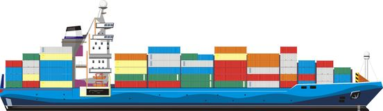 Cargo ship. Side of cargo ship with containers Royalty Free Stock Photos