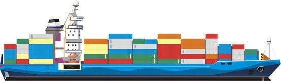 Cargo ship stock vector. Illustration of navy, crane ...