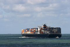 Cargo ship. Huge container ship at sea Stock Photo