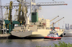 Cargo ship 3. Cargo ship in the harbour of hamburg Royalty Free Stock Photography