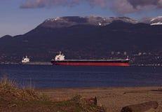 Cargo Ship. A bulk cargo ship at anchor Royalty Free Stock Images