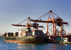 Cargo Ship. Loading at the dock Stock Photography