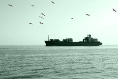 Cargo ship. On the way to the dock Royalty Free Stock Photo