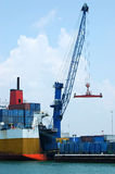 Cargo Ship. Loading containers at the Port of Miami Royalty Free Stock Images