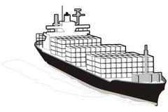 Cargo ship. Art illustration of a full cargo ship Royalty Free Stock Photo