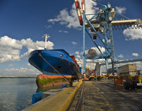 Cargo ship. At dock at port Stock Images