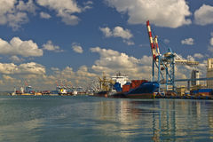 Cargo ship. At dock in the Israeli Haifa port Royalty Free Stock Images