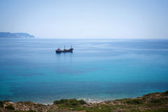 Cargo ship in Aegean sea Royalty Free Stock Photography