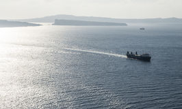 Cargo ship on the Aegean Sea in Greece Royalty Free Stock Photography