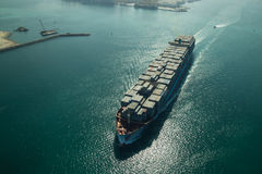 Cargo ship aerial view Royalty Free Stock Images