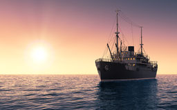 Cargo Ship Against The Evening Sky Royalty Free Stock Image