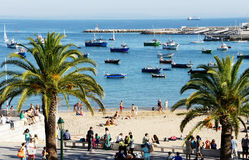 Cargo ship at anchor, waiting to enter, Cascais,Portugal Royalty Free Stock Photos