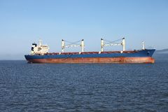 Cargo ship anchored in Astoria Oregon. Stock Photo