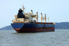 Cargo ship anchored in Astoria Oregon. Royalty Free Stock Photos