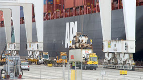 Cargo Ship APL SAVANNAH loading at the Port of Oakland. Stock Photos