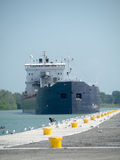 Cargo Ship Approaching docking area Stock Photos