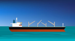 Cargo ship approaching or entering the harbor Royalty Free Stock Photography