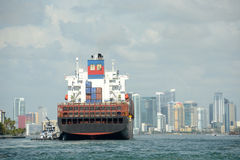 Cargo ship approaching Miami, Florda Stock Image