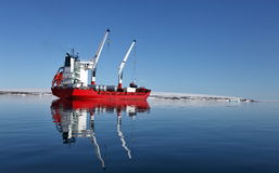 Cargo ship in Arctic Royalty Free Stock Photo