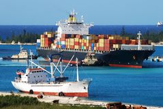 Cargo Ship Arriving Royalty Free Stock Image