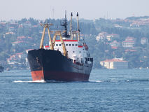 Cargo ship. Barge on the sea near Istanbul Stock Photo