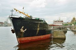 Cargo ship at berth. Royalty Free Stock Images