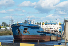 Cargo ship at berth. Royalty Free Stock Photo