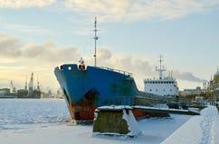 Cargo ship at berth. Stock Photo