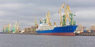 Cargo ship at berth Royalty Free Stock Photos