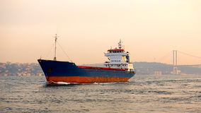 A cargo ship in the Bosphorus, Istanbul, Turkey. Stock Photography
