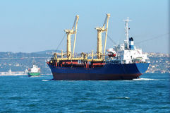 Cargo ship in Bosporus Sea, Istanbul. Istanbul Strait cargo ship photo Royalty Free Stock Photography