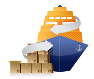 Cargo ship, boxes, and movement arrows Stock Photos