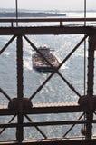 Cargo ship from the Brooklyn bridge. stock image