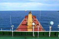 Cargo ship. A bulk carrier anchorage in the gulf area Stock Photos