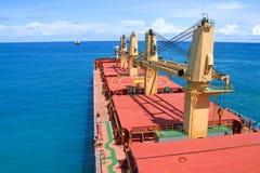 Cargo ship. A bulk carrier anchorage in the gulf area Stock Photo