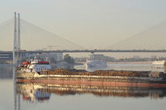 Cargo ship and cable-braced bridge Royalty Free Stock Image