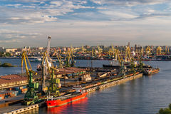 Cargo Ship in cargo sea port in St. Petersburg Stock Image