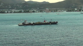 Cargo ship in the Caribbean stock video footage