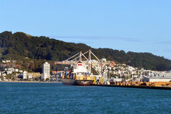 Cargo ship in CentrePort in Wellington NZ Royalty Free Stock Photography
