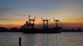 Cargo ship Chao phraya river twilight sunset. Cargo ship at chao phraya river twilight sunset stock footage