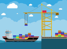 Cargo ship and container crane Royalty Free Stock Photo