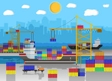 Cargo ship, container crane, truck. port logistics. River ocean sea freight shipping by water. crane unloads cargo ship. container truck. Background with blue Stock Image